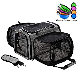 Coopeter Dog Carrier, Pet Carrier Airline Approved with Durable Mesh Panels, Cat Carrier with Telescopic Walking Handle…