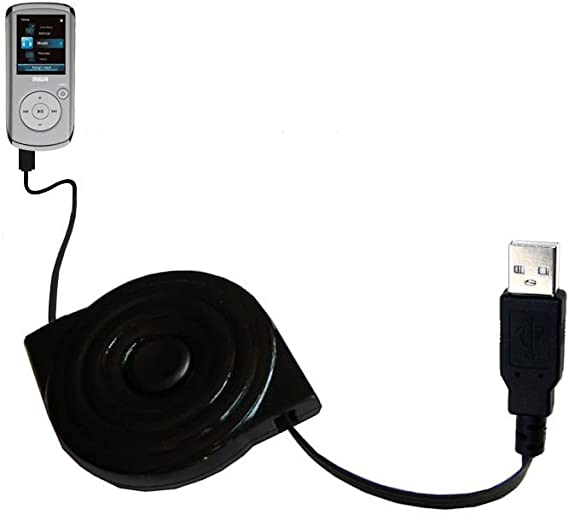 Compact and retractable USB Power Port Ready charge cable designed for the RCA M4208 OPAL Digital Media Player and uses TipExchange
