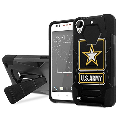 [Cricket] HTC Desire 550/555 Combat Phone Case [NakedShield] [Black/Black] Heavy Duty Shock Proof Armor Art [Kickstand] - [Army] for [Cricket] HTC Desire 550/555