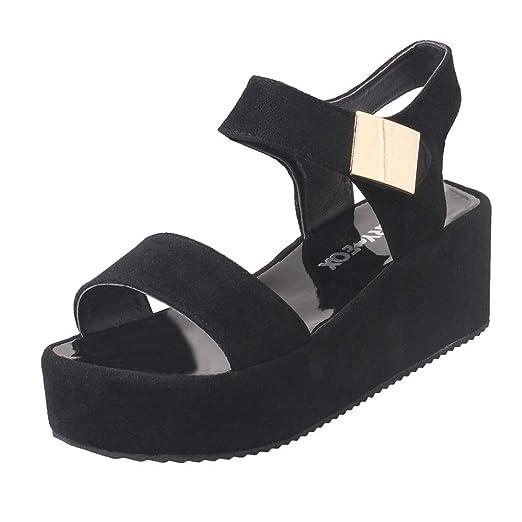 a0b7c7b653b8 AJPJ(TM)❤️Women s Fashioh Sandals Ladies Summer Solid Peep Toe Wedge  Platform Shoes