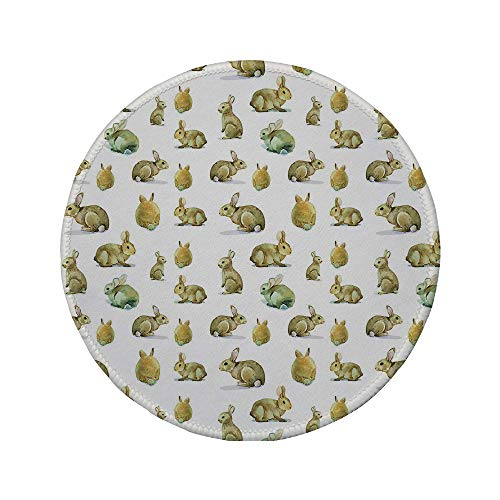 (Non-Slip Rubber Round Mouse Pad,Watercolor,Cute Furry Rabbit Bunny Pattern Easter Animals Domestic Fluffy Pets Decorative,Pale Brown Pale Yellow,11.8