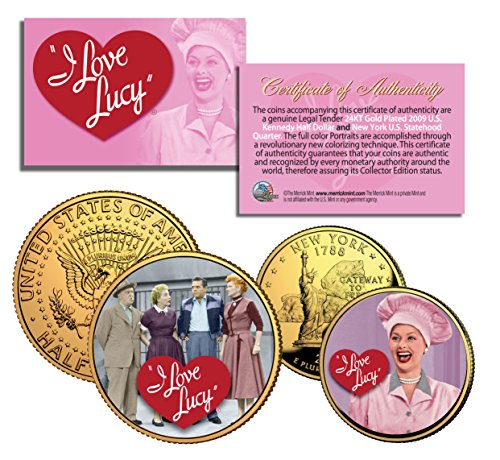 I LOVE LUCY Lucille Ball State Quarter & JFK Half Dollar US 2-Coin Set LICENSED with COA
