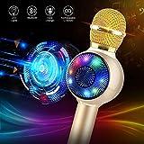 Wireless Bluetooth Karaoke Microphone with Dynamic LED Light, 5 in 1 Handheld Karaoke