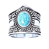 Dolland Boho Jewelry Silver Natural Gemstone Marquise Moonstone Personalized Ring Wedding Engagement Rings,Turquoise,#8