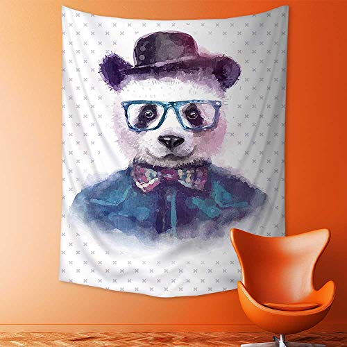 aolankaili Decorate Tapestry Wall Hanging,Vintage Hipster Panda with Bow Tie Dickie Hat Horn Rimmed Glasses Watercolor Style Bedroom Living Room Dorm Tapestries