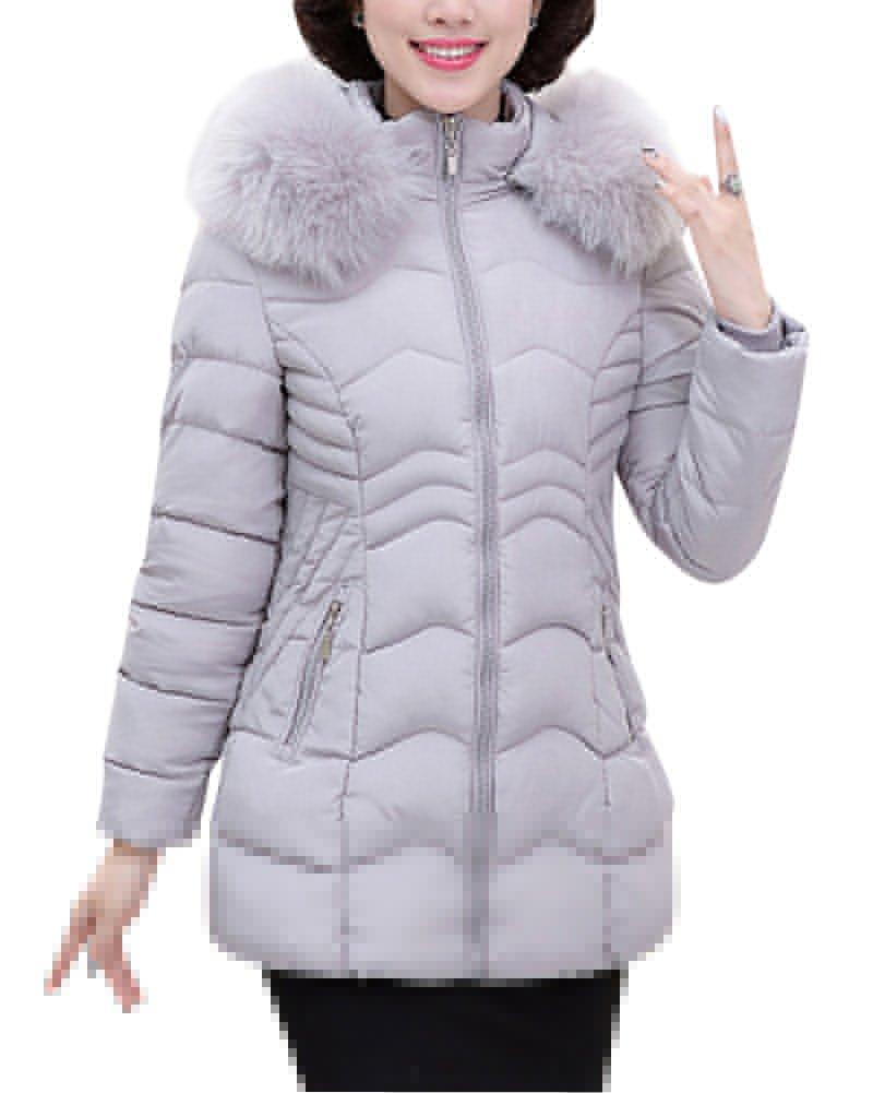 Mujeres de mediana edad sintético ligero abajo chaqueta Otoño e Invierno Color sólido Abrigo de algo...