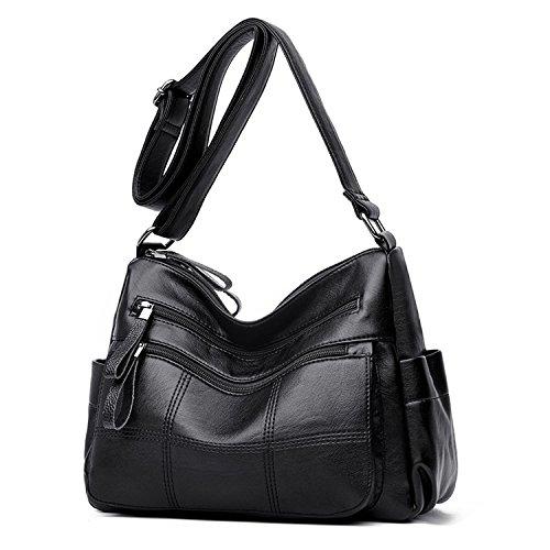 Women Multi Sanxiner Leather Bag A black Shoulder Crossbody For Purse Pocket Bags Medium 5rvaqnr