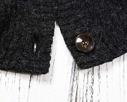 Sidefeel Women Hooded Sweater Cardigans Button Knit Coat Outwear XX-Large Black by Sidefeel (Image #5)