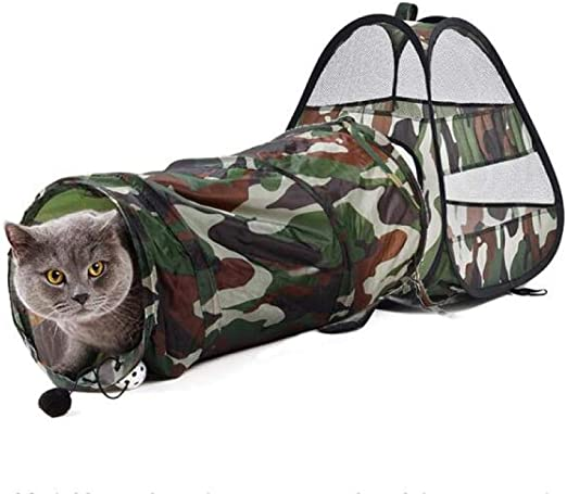 Túneles Para Gatos Artículos Para Gatos Tubos Y Túneles Para Animales Pequeños Cute Pet Cat Play Tunnel Cat Bed Mat Camouflage Funny Long Tunnel Kitten Tienda Portátil Jugar Toy Plegable Cat T: