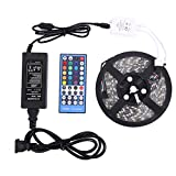 #9: LED Rope Lights RGBW Waterproof led lights DC12 v 16.4FT 5M 300LED With 40Keys IR Remote Controller and 5A Power Supply for Christmas Holiday Festival Party Home Garden De(RGBWW kit) (RGBWW)