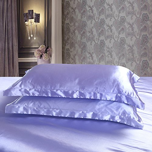 Colorful Mart Blue Purple Silk Pillowcase, Include 2 Standard Pillowcases, Envelope Closure, Prevent Side Sleeping Wrinkles, Have Good Dreams