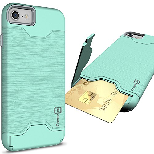 CoverON [SecureCard Series] Fit iPhone 8 Case with Card Holder, iPhone 7 Case, Protective Hard Hybrid Cover with Credit Card Slot and Kickstand Phone Case for Apple iPhone 8/iPhone 7 - Teal Mint