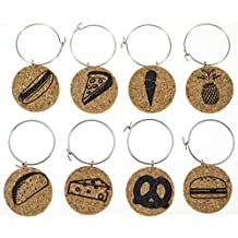 Cork Wine Glass Charms (20+ Unique Designs) - Set of 8 - Food Inspired Designs: Pretzel, Cheese, Ice Cream, Pineapple, Pizza, Hot Dog, etc - Tags to Mark Your Drink (Food)