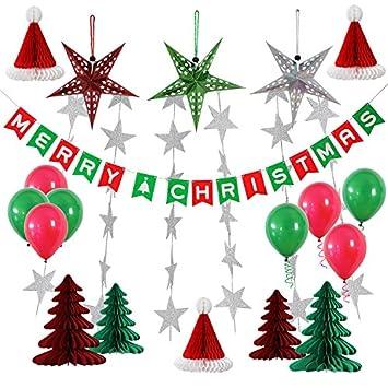 Christmas Party Decorations.Yotruth 25pcs Christmas Party Paper Decorations Indoor And Outdoor Include Handmade Paper Stars Latten Trees Honeycomb Hat Balloons Christmas Banner