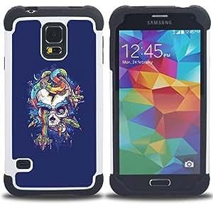 """Pulsar ( Arco iris púrpura del cráneo de la serpiente azul"""" ) SAMSUNG Galaxy S5 V / i9600 / SM-G900 V SM-G900 híbrida Heavy Duty Impact pesado deber de protección a los choques caso Carcasa de parachoques"""