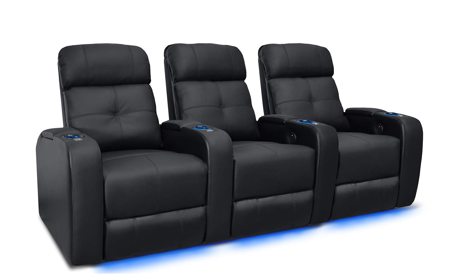 Valencia Verona Premium Top Grain 9000 Leather Power Recliner LED Lighting Home Theater Seating (Row of 3, Black) by Valencia Seating