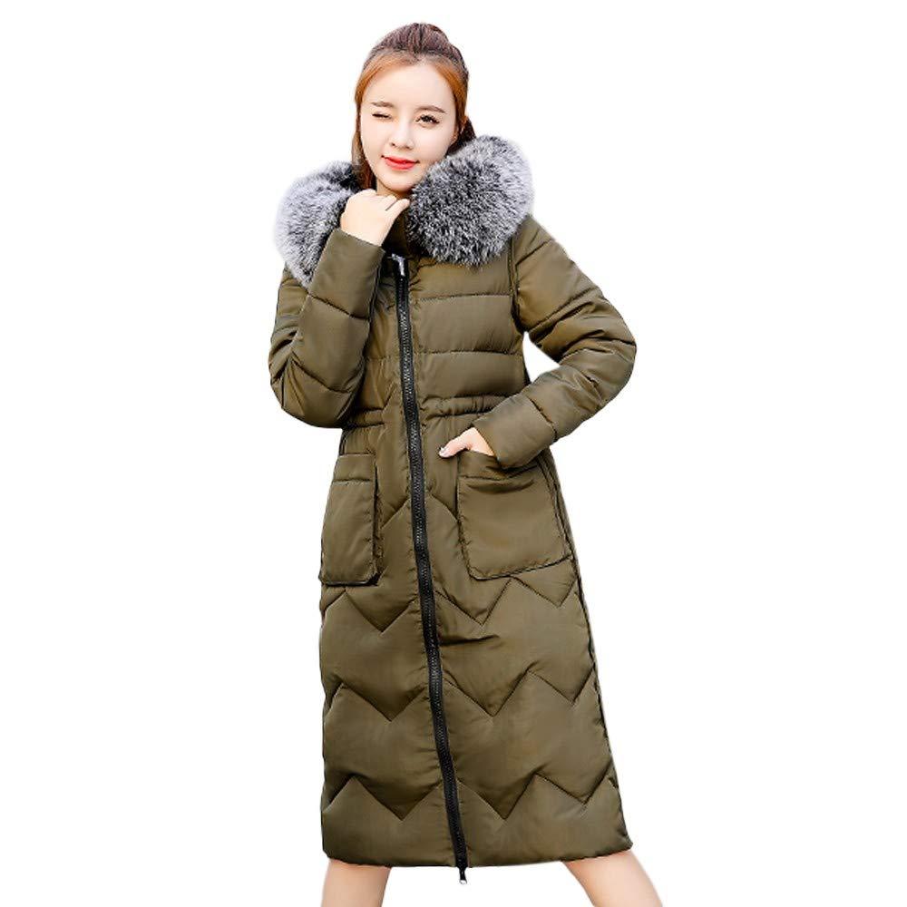 fd63e9a748b6 iHPH7 Women Winter Coat Down Jacket Ladies Fur Hooded Jackets Long Puffer  Parka at Amazon Women s Clothing store