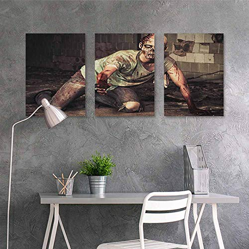 HOMEDD Original Oil Painting,Zombie Halloween Scary Dead Man in The Old Building with Bloody Head Nightmare Theme,Modern Decorative Artwork 3 Panels,16x31inchx3pcs Grey Mint Peach]()