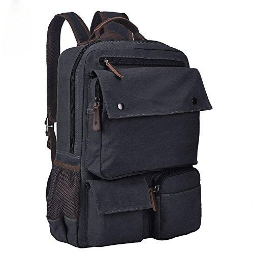 Canvas Rucksack 15.6 Inch Laptop Backpack Casual Daypack Bookbag for Men Women Black