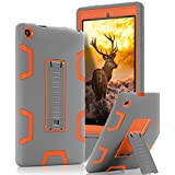 TOPSKY Case For All-New Amazon Fire HD 8 2016 (6th Gen),[Kickstand Feature],Shock-Absorption / High Impact Resistant Armor Defender Case For Fire HD 8 Tablet (6th Gen, 2016 release), Grey / Orange