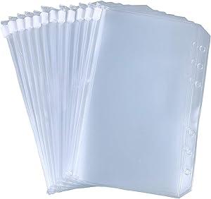 Antner 12pcs Binder Pocket A6 Size 6 Holes Binder Zipper Folders for 6-Ring Notebook Binder Loose Leaf Bags, Waterproof PVC Pouch Document Filing Bags