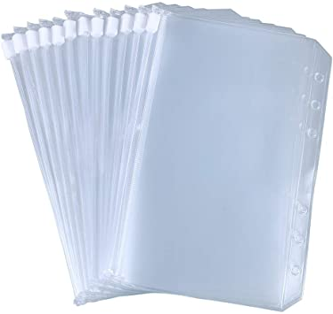Antner 12pcs Binder Pockets A6 Size 6 Holes Binder Zipper Folders for 6-Ring Notebook Binder Loose Leaf Bags, Waterproof PVC Pouch Document Filing Bags