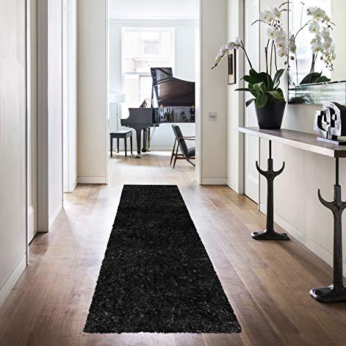 Black Cocoa Runner Rug - Superior Textured Shag Runner Rug, Black, 2' 7