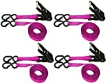 4 PACK POWERSPORT RATCHET S-HOOK W/KEEPER STRAPS (16 FT, PINK)