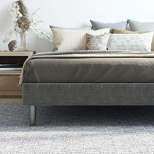 Classic Brands Decoro Claridge Upholstered Platform Bed Metal Frame With Wood Slat Support Grey Twin Xl