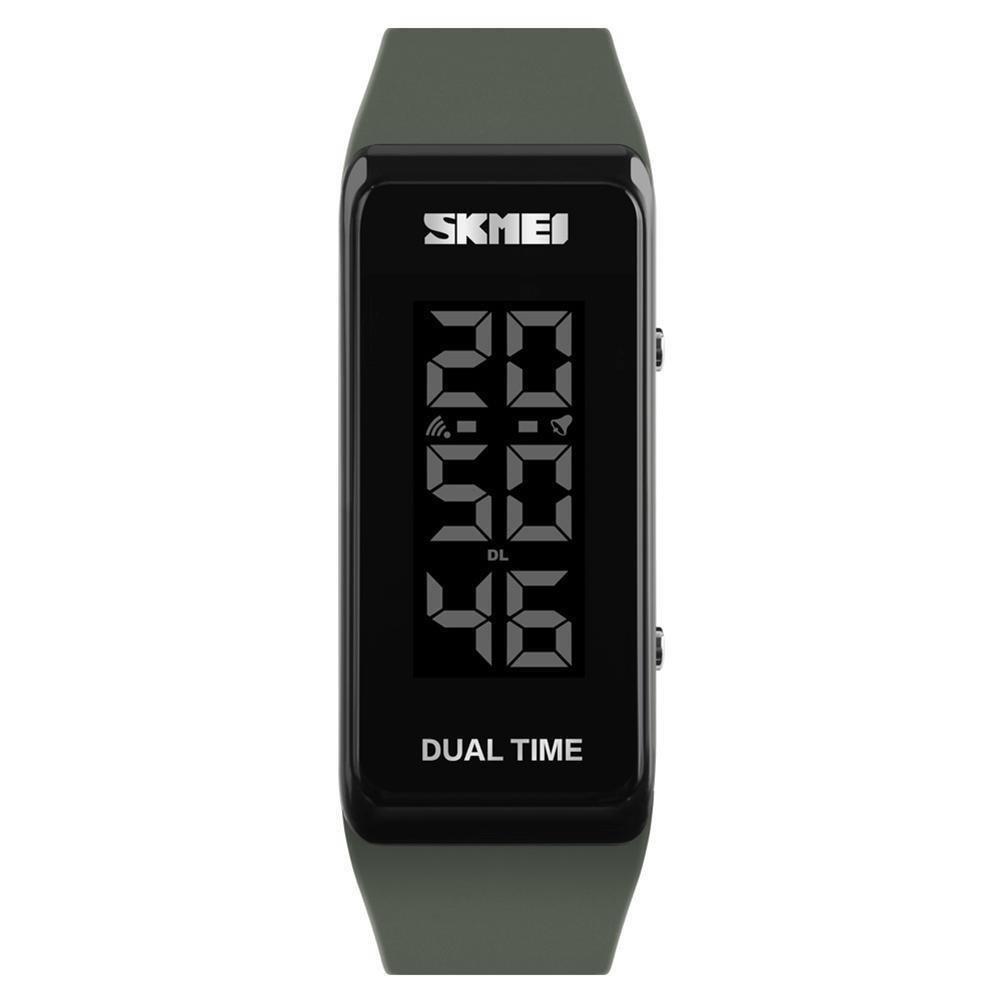 SKMEI Fashion Sports Watches Men Women Waterproof Alarm Watch Chronograph Outdoor Digital Wristwatches (Army Green)