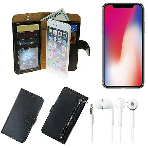 TOP SET: Portemonnaie Schutz Hülle für Apple iPhone X, schwarz aus Kunstleder + Kopfhörer   Walletcase Smartphone Tasche, vollwertige Geldbörse mit Handyschutz (Wir zahlen Steuern in Deutschland!)