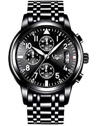 ALL BLACK Chronograph Waterproof Watches, Date Display, Stainless Steel Band, 6 Hands, IP Plating