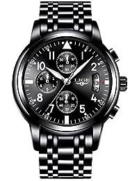 Men's Black Analog Quartz Watches Business Dress Military Steel Top Brand Date Waterproof Men Watch