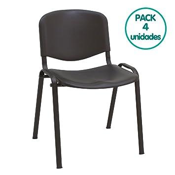 Silla confidente ISO apilables Ideal para Salas reuniones plástico Polipropileno (Pack 4 Unidades) (Negro)
