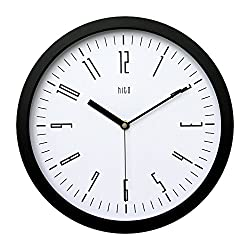 hito Modern Colorful Silent Non-ticking Wall Clock- 12 inches (Black Frame, Classic White)