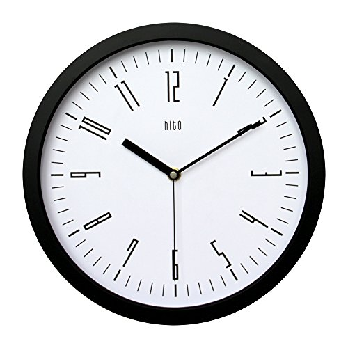 hito Silent Wall Clock Non ticking 12 inch Excellent Accurate Sweep Movement, Modern Decorative for Kitchen, Living Room, Bathroom, Bedroom, Office (D blackframe)