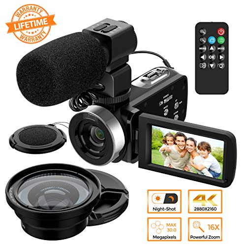 Vlog Video Camera Camcorder – 4K HD Camera for YouTube and Capture Memory with Microphone, Digital WiFi Camera Recorder with Remote Control, IR Night Vision 3.0 inch Touch Screen 16X Digital Zoom
