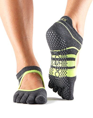 ToeSox Women's Bellarina Full Toe Grip Non-Slip for Ballet, Yoga, Pilates, Barre (Varsity) Small