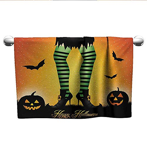alisoso Halloween,Face Towels Child Cartoon Witch Legs with Striped Leggings Western Concept Bats and Pumpkins Print Absorbent Towel Multicolor W 35