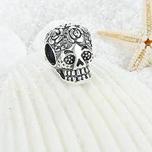Rose Skull 925 Sterling Silver Bead fits Pandora Charm European Sugar Skull