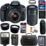 Canon EOS Rebel T5 Digital Camera SLR Kit With Canon EF-S 18-55mm IS II+Canon EF-S 55-250mm f/4.0-5.6 IS STM Telephoto Zoom Lens + 64GB Card and Reader + Wide angle and Telephoto Lenses + Battery + Filters + Accessory Kit