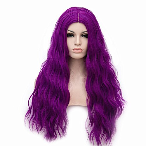 ELIM Purple Wigs for Women Long Curly Wavy Hair Wigs Full Synthetic Wig with Wig Cap Z081B ()