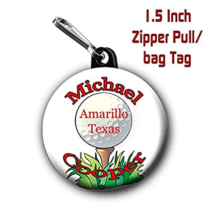 Golf Zipper Pull Bag Tags Two 1 5 Inch Charms Personalized With Name And City State
