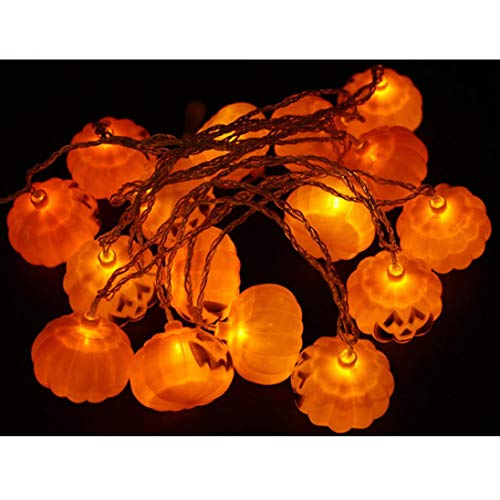 1Pc Halloween Party Ghost Festival Pumpkin LED Battery Lantern String Decoration 3cm 20 Lights (Yellow) -