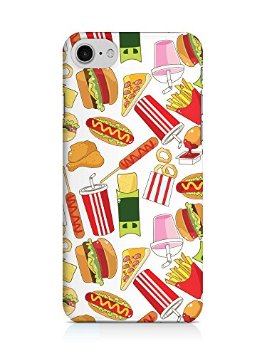 COVER Comic Fast food Essen weiss Design Handy Hülle Case 3D-Druck Top-Qualität kratzfest Apple iPhone 7