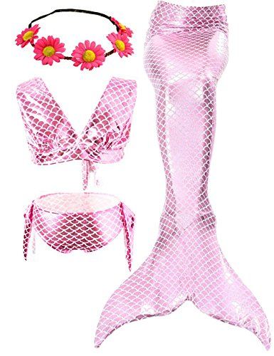 AMENON 3PCS Girls Swimsuit Mermaid Tail Bathing Princess Bikini Set Swimwear for Kids 3-12 Masquerade Pool Party Can Match Monofin for Easter(with Garland) (L(6T)/ 5-6Y, Apink) -