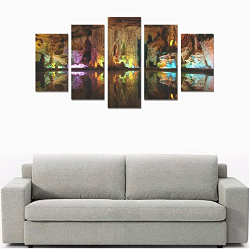 Unique Landscape Art Oil Painting Decoration Nature Multicolor Rocks Caves Custom 100% Canvas Material Canvas Print Bedroom Wall Art Living Room Mural Decoration 5 Piece Canvas painting (No Frame) by sentufuzhuang Canvas Printing