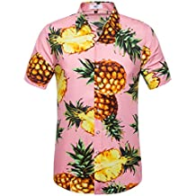 SIR7 Men's Hawaiian Flower Print Casual Button Down Short Sleeve Shirt