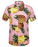 SIR7 Men's Pineapple Button Down Short Sleeve Casual Hawaiian Shirt Pink XL