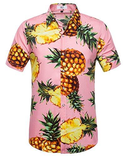 SIR7 Men's Pineapple Button Down Short Sleeve Casual Hawaiian Shirt Pink XL by SIR7